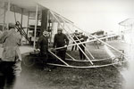 Wright biplane being prepared for a flight at the Lanark air race in 1910