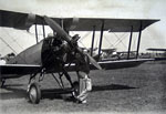Avro 504N biplane with pilot A.N. Kingwill prior to a display flight at the Scottish Flying Club air pageant 1935
