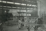 Workshop scene during construction of aircraft wing structures in Glasgow 1918