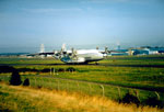 Antonov AN22 long-range heavy lift freighter on a charter mission at Prestwick Airport 1994