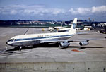 Boeing 707 airliner at Prestwick Airport preparing for flight to the USA on Pan American World Airways
