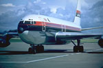 Boeing 707 airliner of Laker Airways on charter flight from Prestwick to USA in 1970