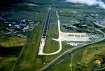 Aerial photo of Prestwick airport looking down main runway from the northwest