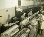 Rolls-Royce Merlin aircraft engine assembly line at Hillington in 1944