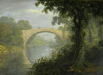 "Framed painting in oils titled ""Brig o' Doon"" by John Fleming"