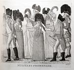Print of military fashions, by John Kay