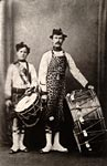 Carbon photograph of drummers of the 78th Regiment of Foot, 1860