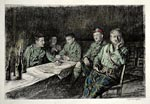 Lithograph of Gordon Highlanders' officers' mess, behind the Somme front