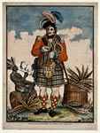 Coloured print of a Highland soldier and a black slave, smoking a pipe and taking snuff