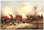 Watercolour by Orlando Norie of the 42nd Regiment of Foot during the Indian Mutiny, 1857