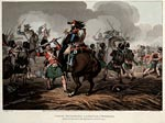 Coloured engraving of the Battle of Waterloo, 1815