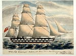 Pen and watercolour drawing of the H.M.S. Edinburgh, by Andrew C. Jeffreys