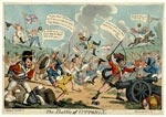 Coloured caricature entitled 'The Battle of Vittoria', published by T. Sidebotham