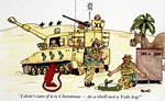 Christmas card showing a Gulf War cartoon