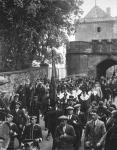 Provost and magistrates leading the Marches Day procession through the palace gates in 1933
