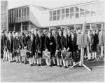 Line of girls outside Armadale School, Armadale, Bathgate, West Lothian, c. 1975