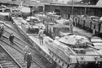 Armoured tanks at Haddington railway station