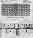 A drawing of the plan and elevation of Kelvin Court, Glasgow