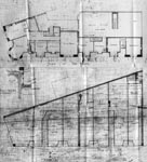 A drawing of floor plans of the corner of St Georges Road and Woodlands Road, Glasgow