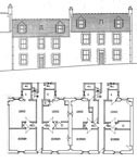 A drawing of the tenement at 1-2 New Street, Prestonpans (two stairs)