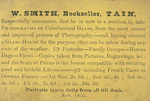 Business card of Tain photographer William Smith