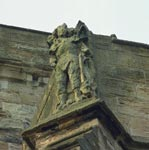 Figure of St Michael stone carving on the Church of St Michael of Linlithgow