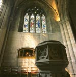 South West Window and Font in the Church of St Michael of Linlithgow