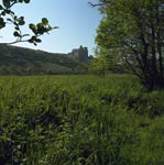 Crichton Castle in summer landscape, Midlothian