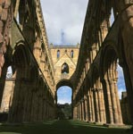 Exterior view of Jedburgh Abbey Nave from the west, Scottish Borders