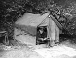 British Officer in a tent. Western Front. c 1916-1918