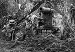 Camouflaged artillery. Western Front, France. c. 1916-1918