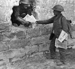 The delivery of newspaper. Western front, France. c. 1916-1918