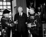 Professor Norman Mackenzie of the University of British Columbia with Argyll & Sutherland Highlanders after the unveiling of the plaque at Stirling Castle