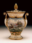 Vase, depicting H.M.S. Donegal rescuing crew of Brave after Battle of St Domingo