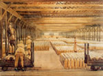 Watercolour, Women munition workers loading shells, Airdrie, 1918