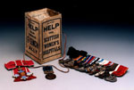 Collection box and medals, associated with Scottish Women's Hospitals units and Dr Elsie Inglis