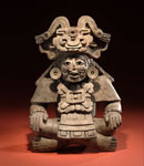 Pot in shape of seated man, from high-ranking Zapotec grave