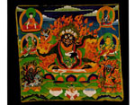 Tibetan Tantric Buddhist temple painting, showing Mahakala, the Great Power of Time