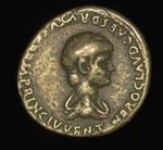 Coin (obverse), Denarius, of Nero (under Claudius)