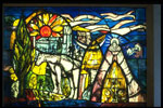 Stained glass panel, entitled The Camargue, by Sax R. Shaw