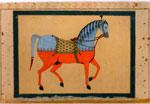 Painting, of saddled stallion