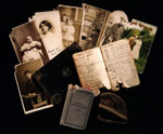 Miniature glengarry bonnet, wallet, documents and photographs, owned by Private Alexander Henderson