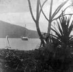 Casco at her moorings, Tautira, Tahiti