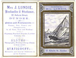 1884 Pocket Calendar for Mrs Lundie, Bookseller, Dundee