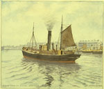 Painting by Artist Peter Anson of steam trawler leaving Aberdeen, around 1920