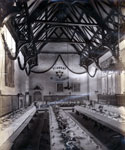 A festively decorated dining hall at Trinity College Glenalmond