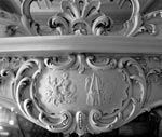 Detail of decorative plasterwork above the fireplace in the first floor drawing room, Egremont, No 38 Dick Place, Edinburgh