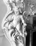 Detail of plasterwork, on the first-floor drawing room fireplace, Egremont, No 38 Dick Place, Edinburgh