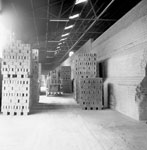 Brick packs, forklift and side of kiln, Skares Brick Works, Skares, East Ayrshire