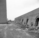 18-chamber Hoffmann kiln from east-south-east, Newmains Brick Works, Morningside, North Lanarkshire